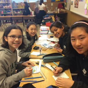 Photos provided by Raji Swaminathan Middle School Wildlife SOS club, made up of 6th and 7th grade students, make hand-made water color painted cards and Origami toys during club time. Then, they sold them to parents during the parent teacher conference and raised about $77 which was sent by Mrs. Ellis to Wildlife SOS, an organization that rescues and takes care of abused elephants and other animals. Now, the club is continuing to make their popular water color cards and also venturing into making Origami spinning tops which they plan to sell at the next parent teacher conference in the spring. The cards and toys take time to make and in the fall they got sold out under an hour.